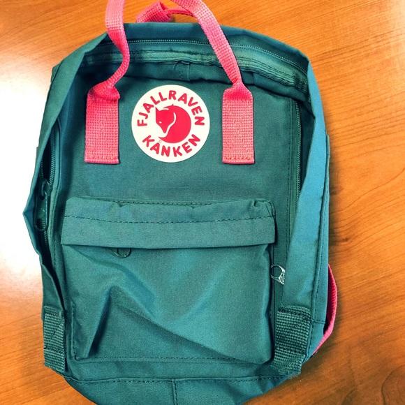 2ba4ff8b6 Fjallraven Handbags - Mini Kanken Fjallraven Frost Green Peach Pink